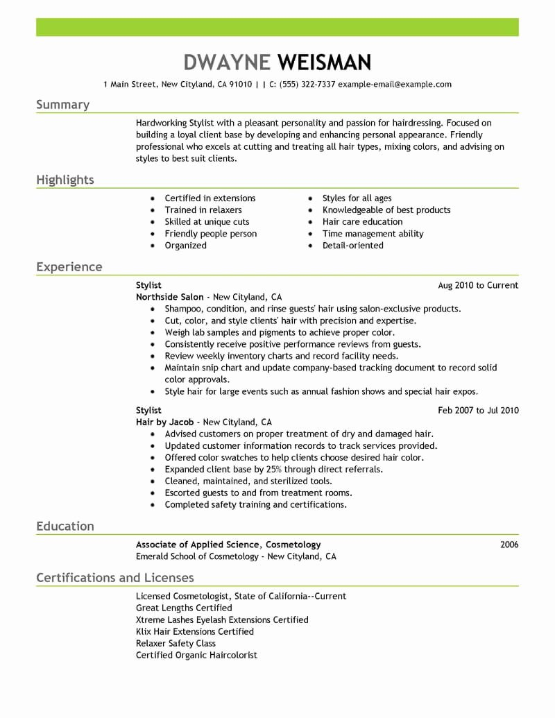Hair Stylist Resume Templates Fresh Best Stylist Resume Example