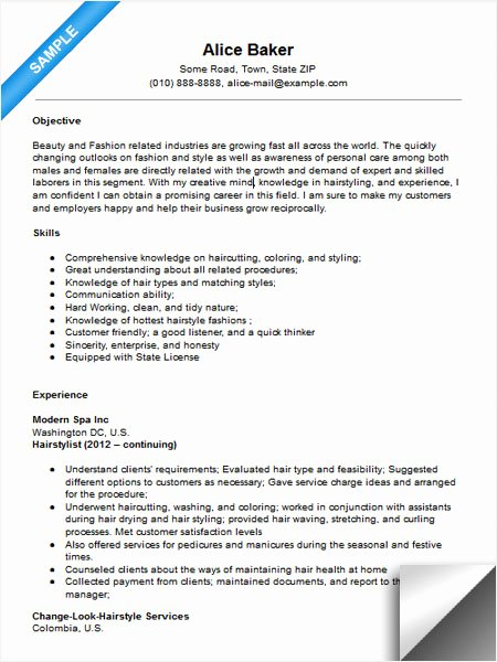 Hair Stylist Resume Templates Fresh Hair Stylist Resume Sample