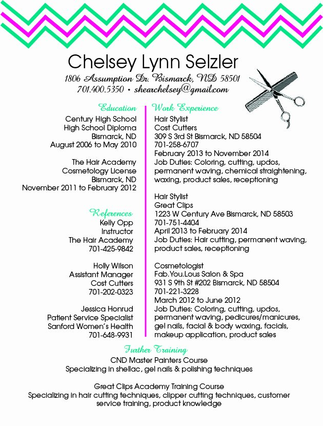 Hair Stylist Resume Templates Fresh Hairstylist Resume