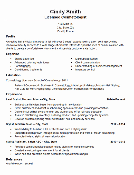 Hair Stylist Resume Templates Luxury Cosmetology Salon Stylist Resume Example