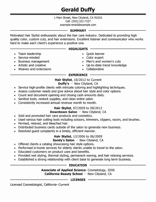 Hair Stylist Resume Templates Unique Sample Hair Stylist Resume Example