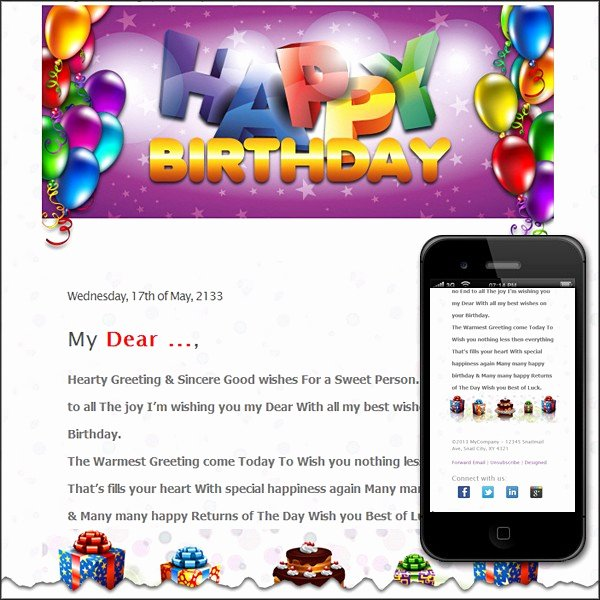 Happy Birthday Email Template Fresh Free Premium HTML Email Templates