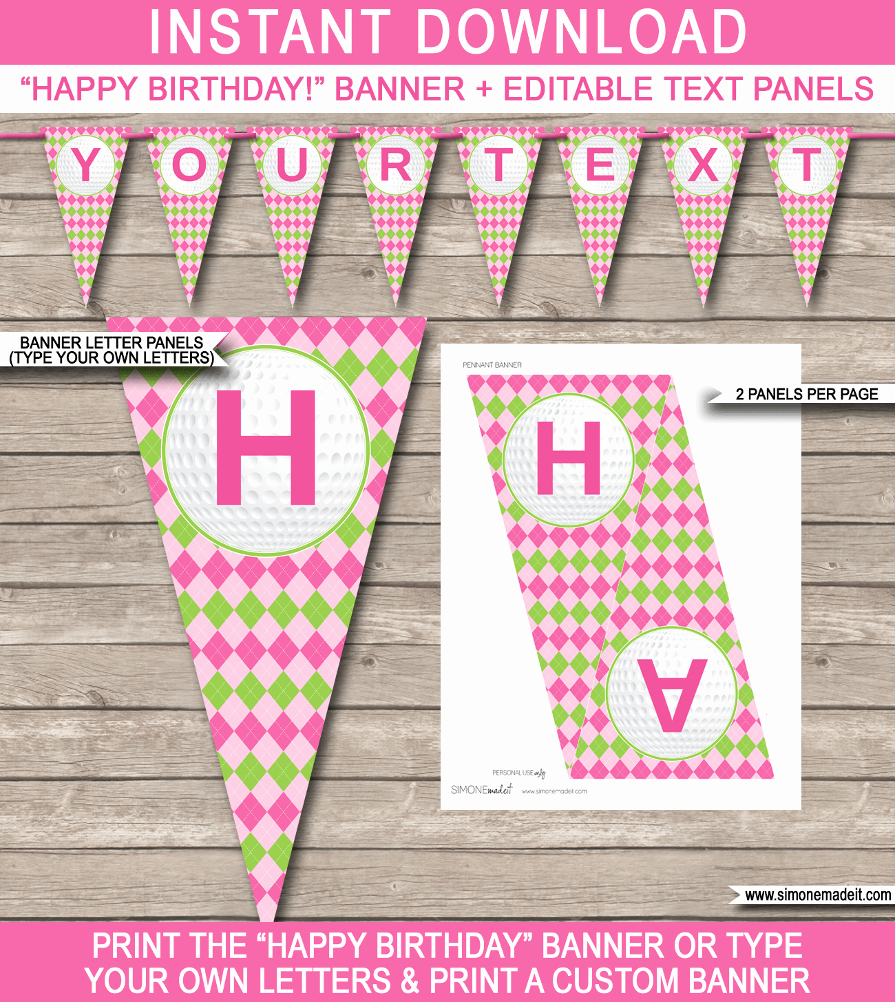 Happy Birthday Email Template Inspirational Girls Golf Birthday Banner Template
