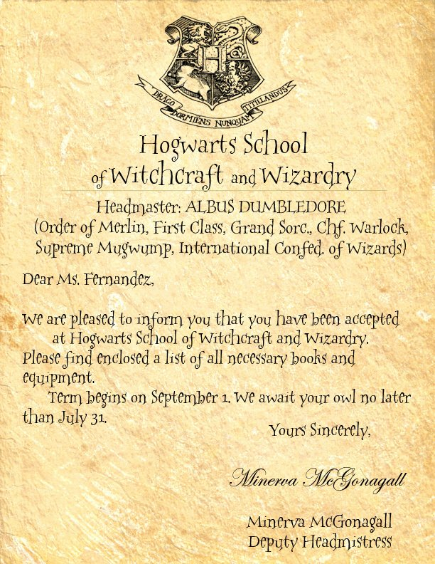 Harry Potter Letter Template Awesome Hogwarts Letter by Crescentmoon18 On Deviantart