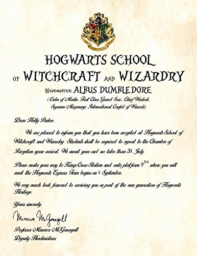Harry Potter Letter Template Awesome Personalized Harry Potter Acceptance Letter Hogwarts