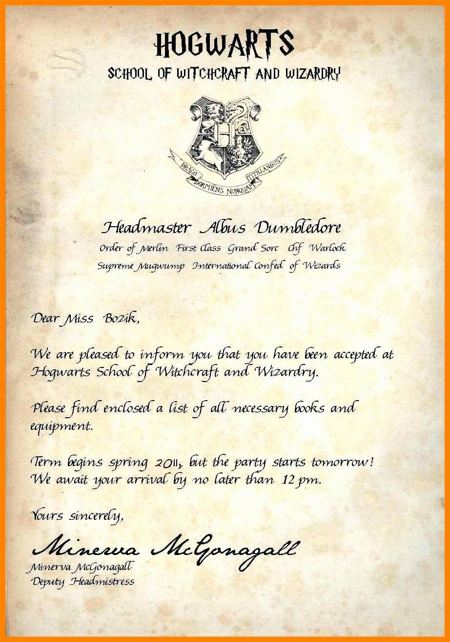 Harry Potter Letter Template Beautiful 12 13 Hogwarts Acceptance Letter Blank
