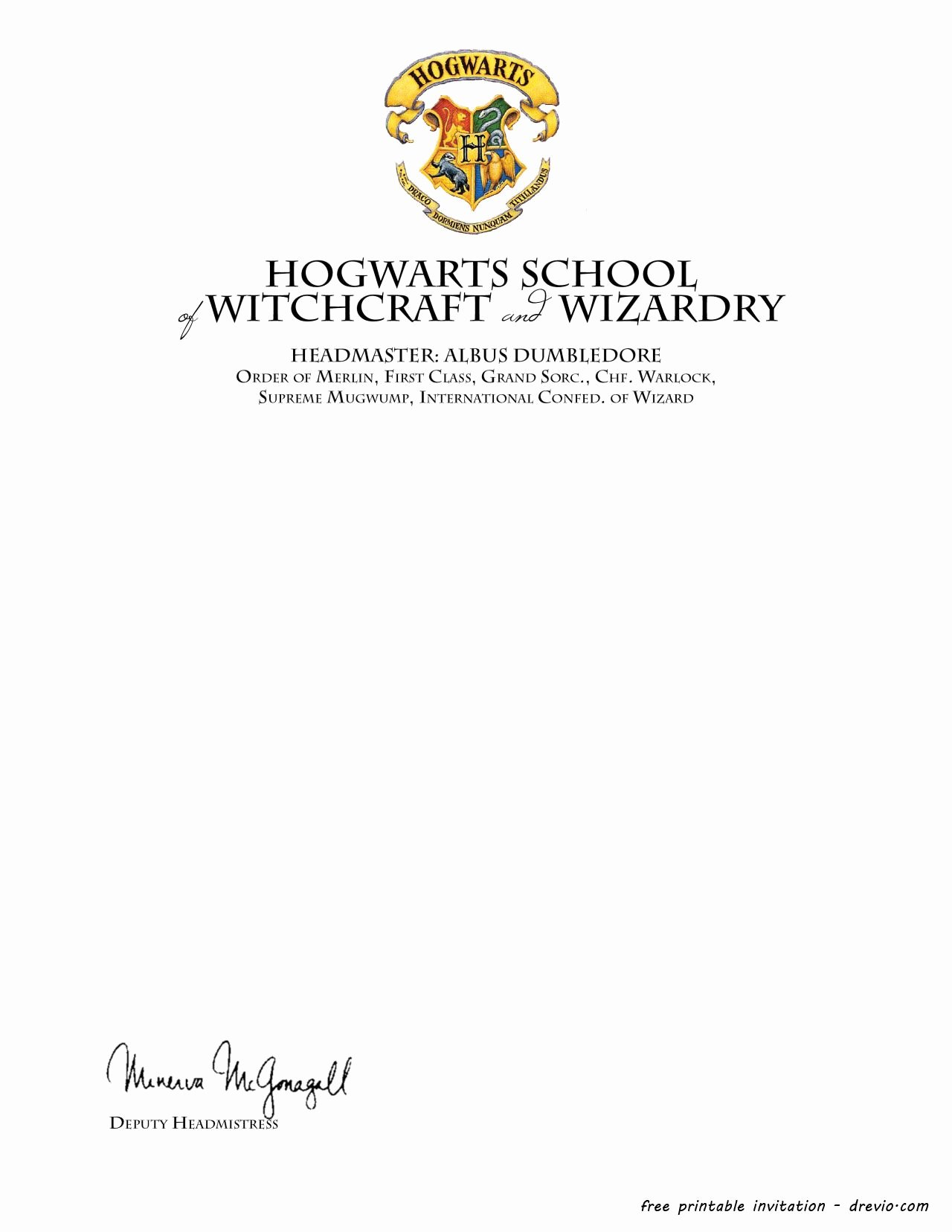 Harry Potter Letter Template Beautiful Free Printable Harry Potter – Hogwarts Invitation Template