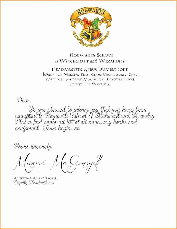 Harry Potter Letter Template Fresh Hogwarts Acceptance Letter Template