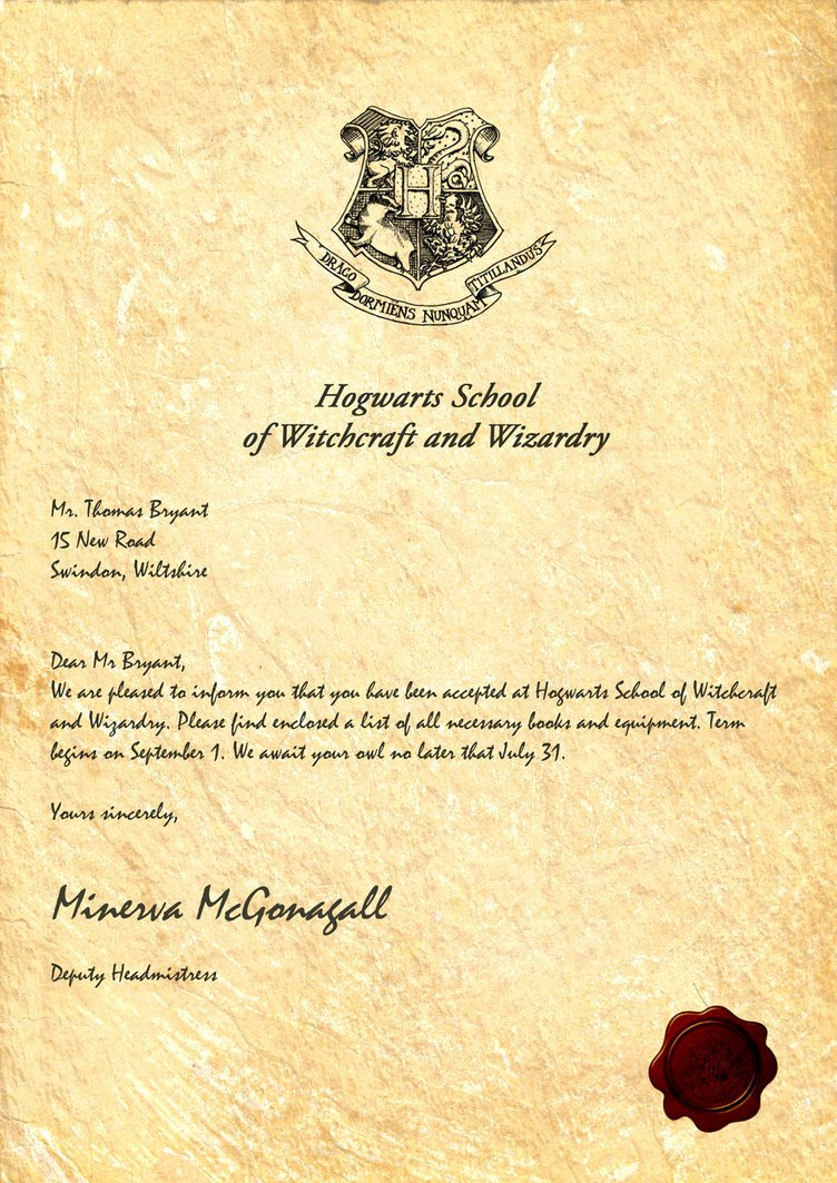 Harry Potter Letter Template Inspirational Hogwarts Acceptance Letter by Legiondesign On Deviantart