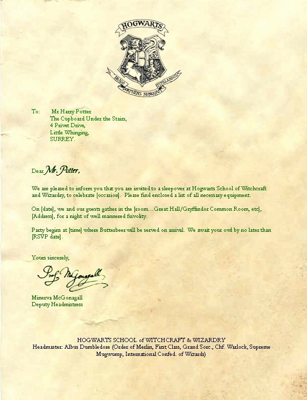 Harry Potter Letter Template Lovely I'm A What Harry Potter