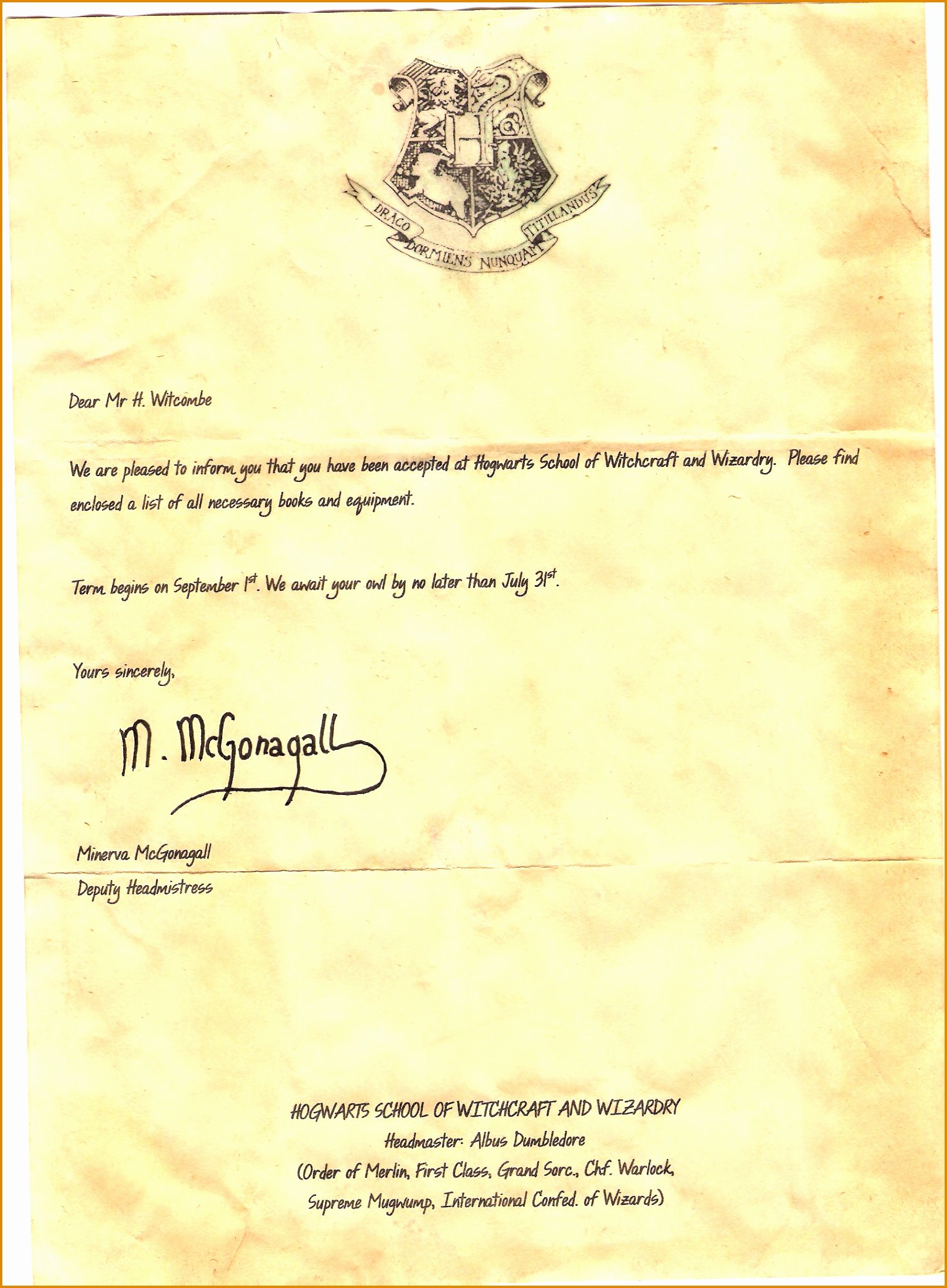 Harry Potter Letter Template Luxury 15 Hogwarts Acceptance Letter Template Pdf