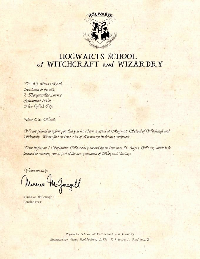 Harry Potter Letter Template Luxury 19 Harry Potter Hogwarts Acceptance Letter Pdf