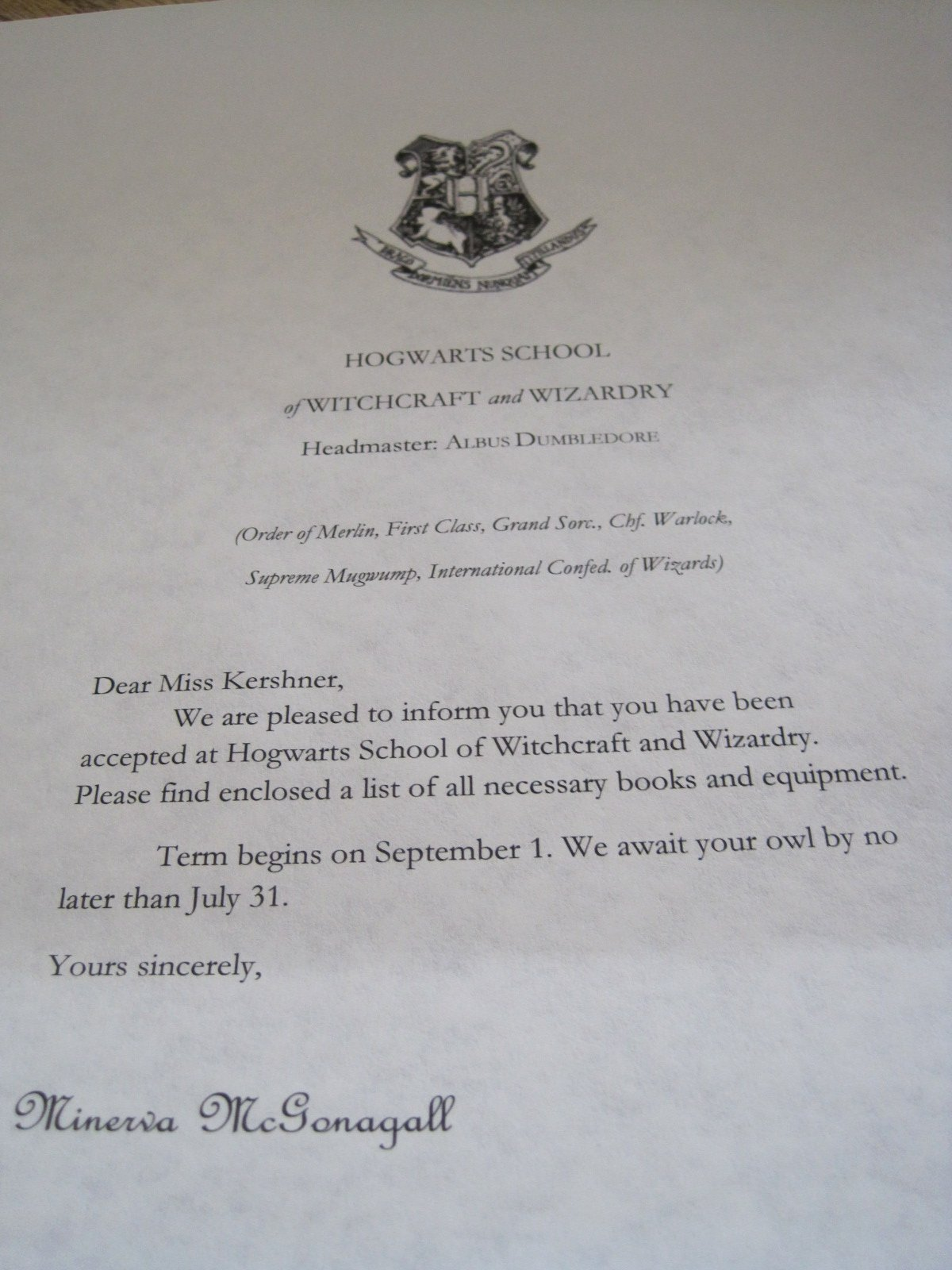 Harry Potter Letter Template Unique Hogwarts Acceptance Letter Template
