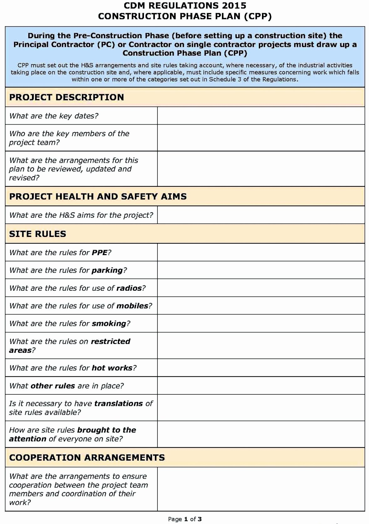 Health Risk assessment Questionnaire Template New Hse Risk assessment Template Construction Template