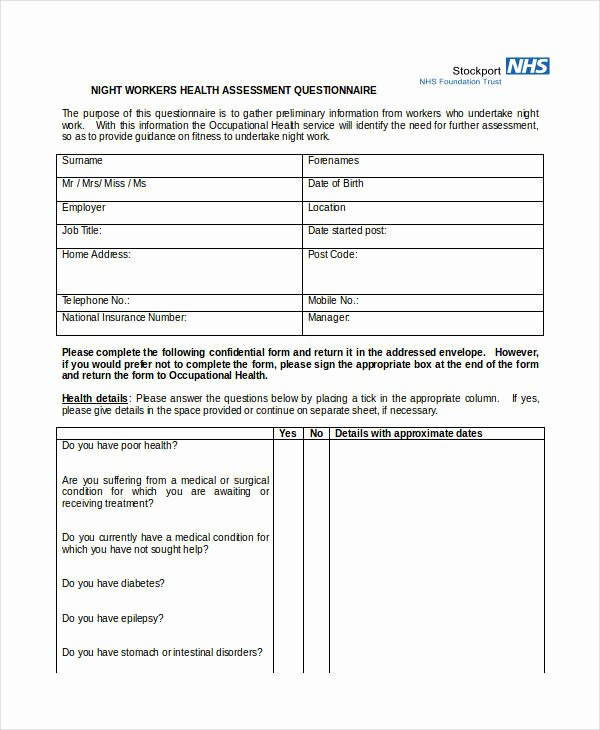 Health Risk assessment Questionnaire Template Unique Free 34 assessment Questionnaire Examples In Pdf