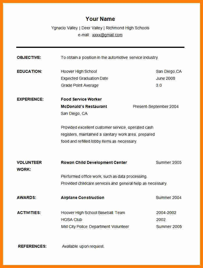 High School Graduate Resume Template Elegant 11 Cv Samples for Graduates