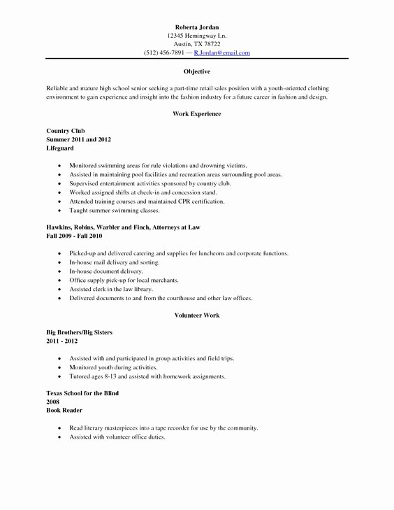 High School Graduate Resume Template Fresh Sample High School Senior Resume