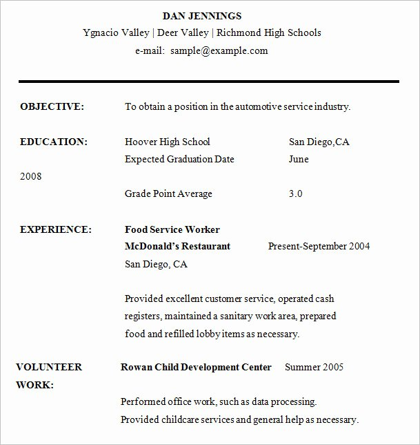 High School Graduate Resume Template Inspirational High School Resume – 9 Free Samples Examples format