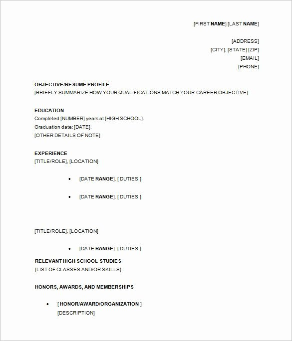 High School Graduate Resume Template Lovely for High School Students 3 Resume format