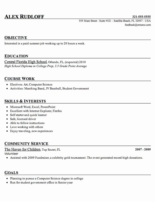 High School Graduate Resume Template Lovely Sample High School Student Resume Example