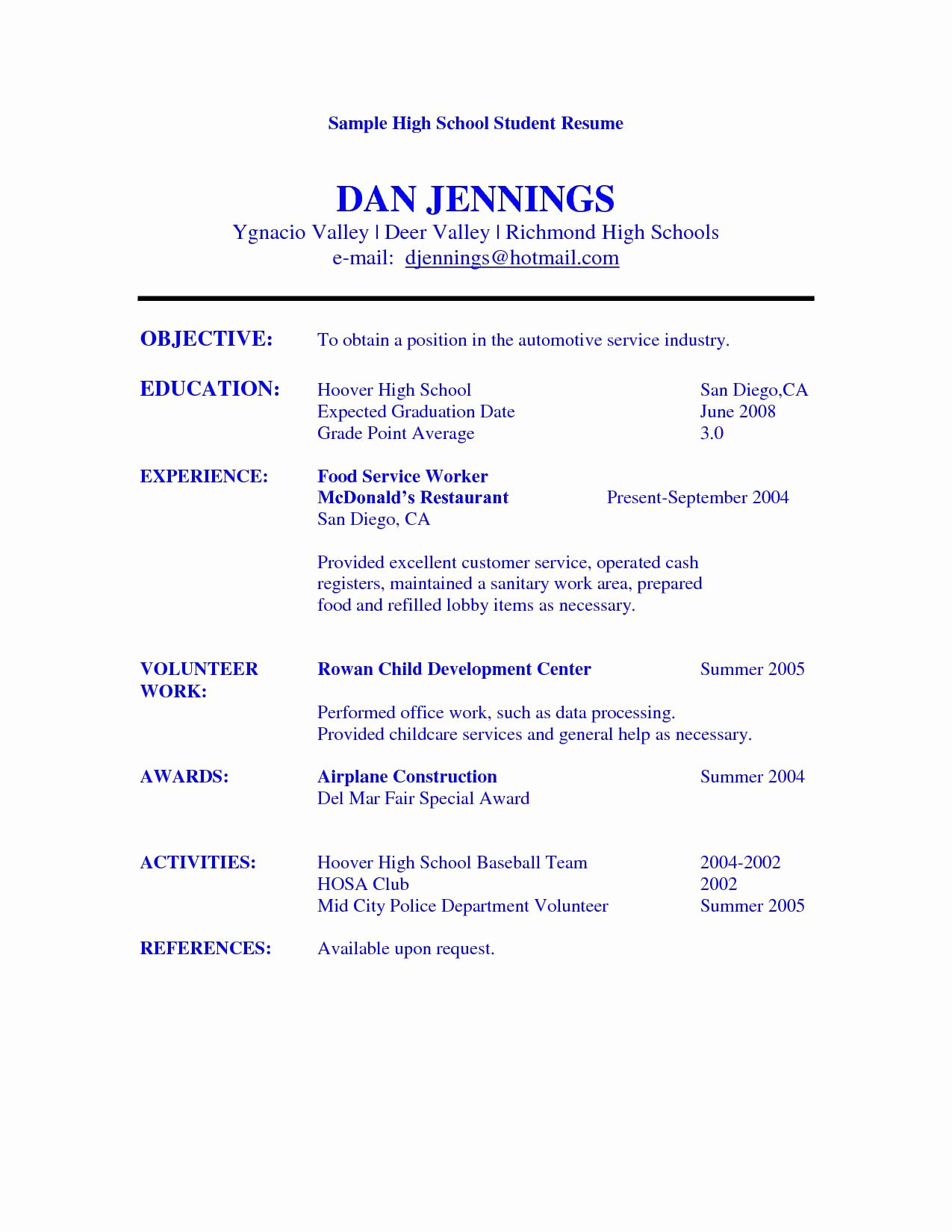 High School Graduate Resume Template Luxury High School Student Resume Objective Examples