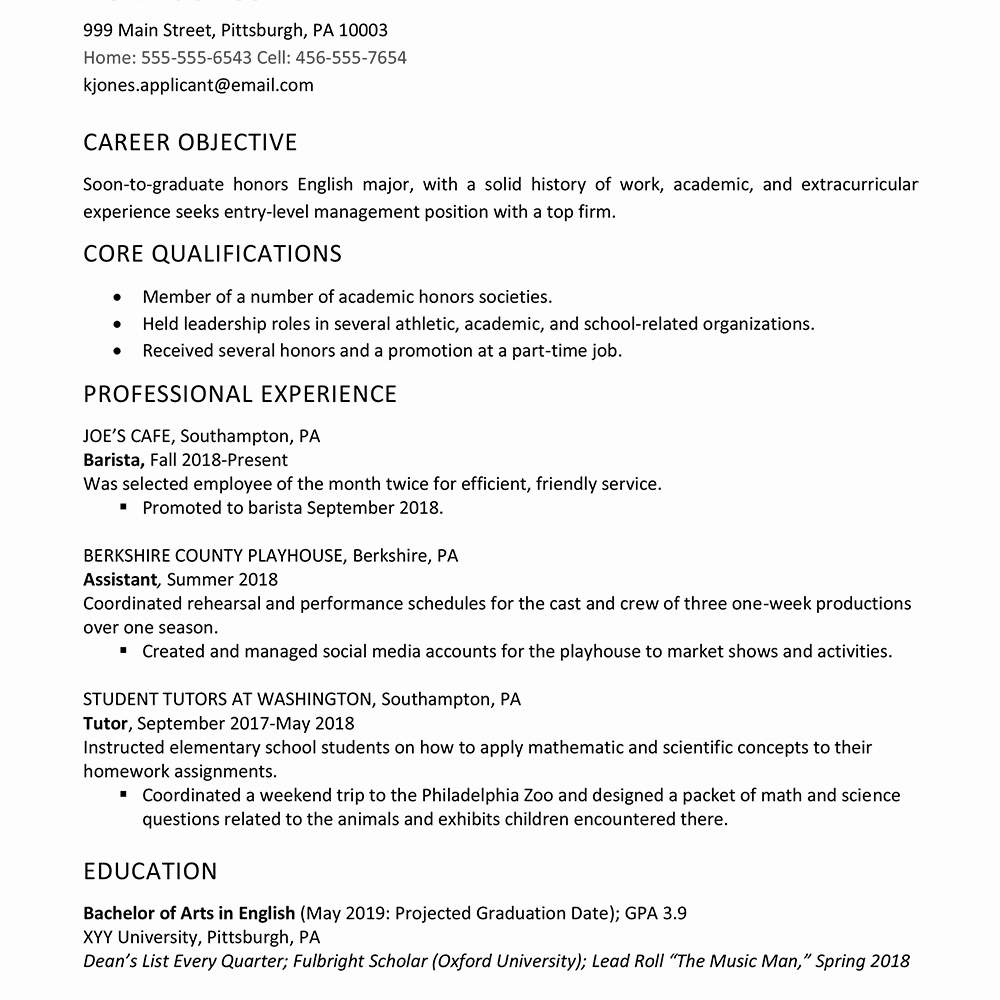 High School Graduate Resume Template New High School Graduate Resume Example Work Experience
