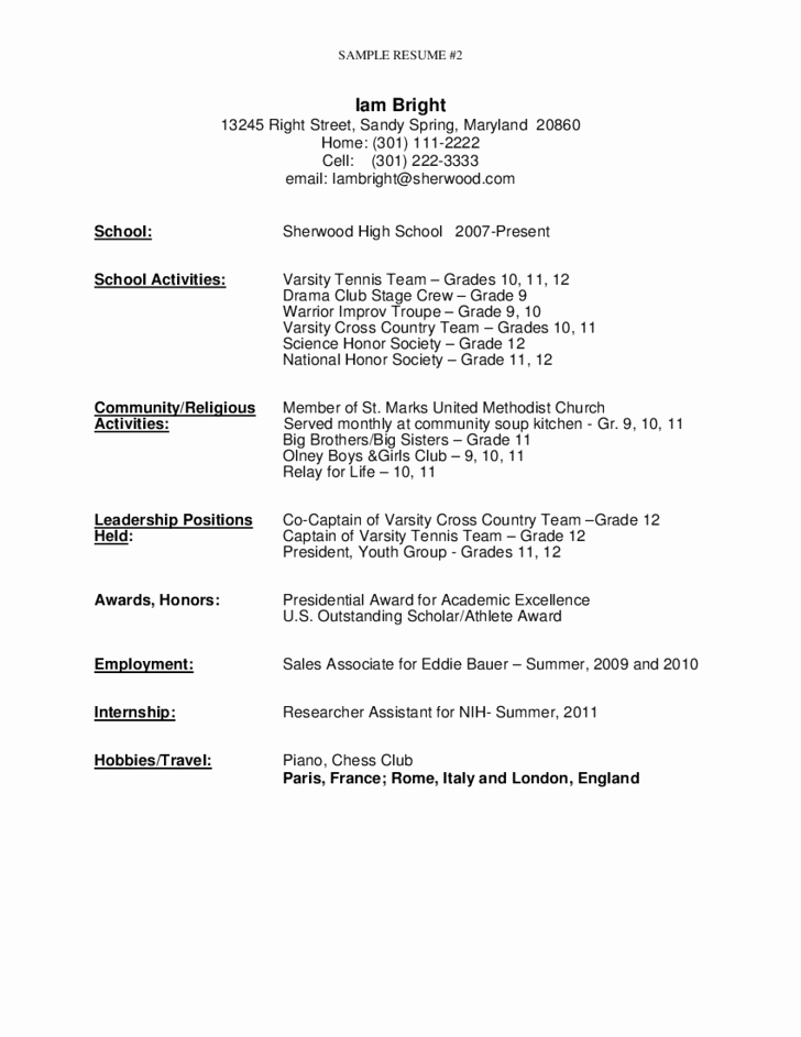 High School Graduate Resume Template New Sample Resume for High School Graduate Free Download