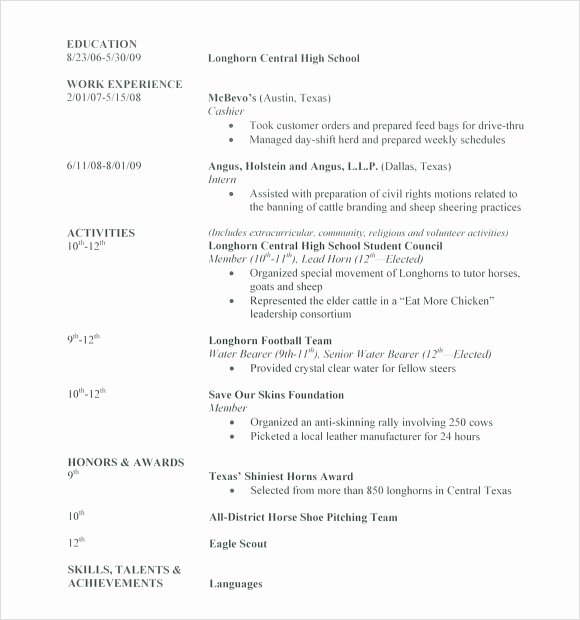 High School Resume Template Word Unique Cv Template ...
