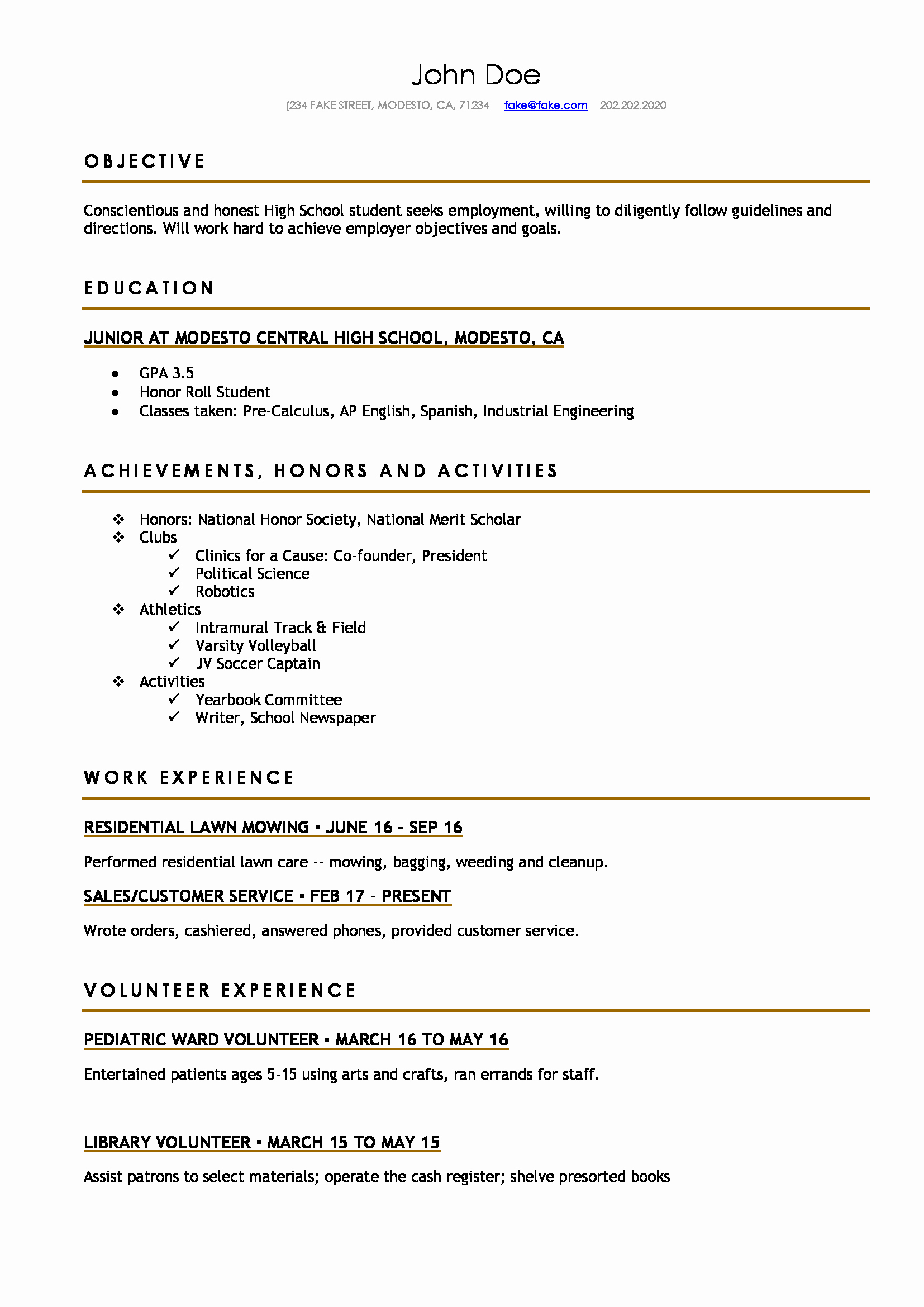 High School Resume Template Word Awesome High School Resume Resumes Perfect for High School Students