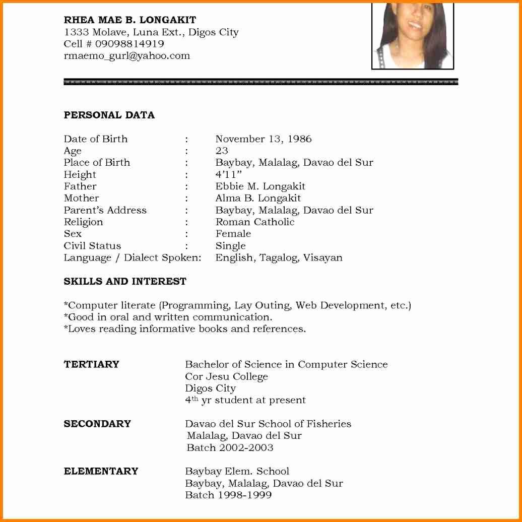 High School Resume Template Word Elegant 7 English Cv Example Word