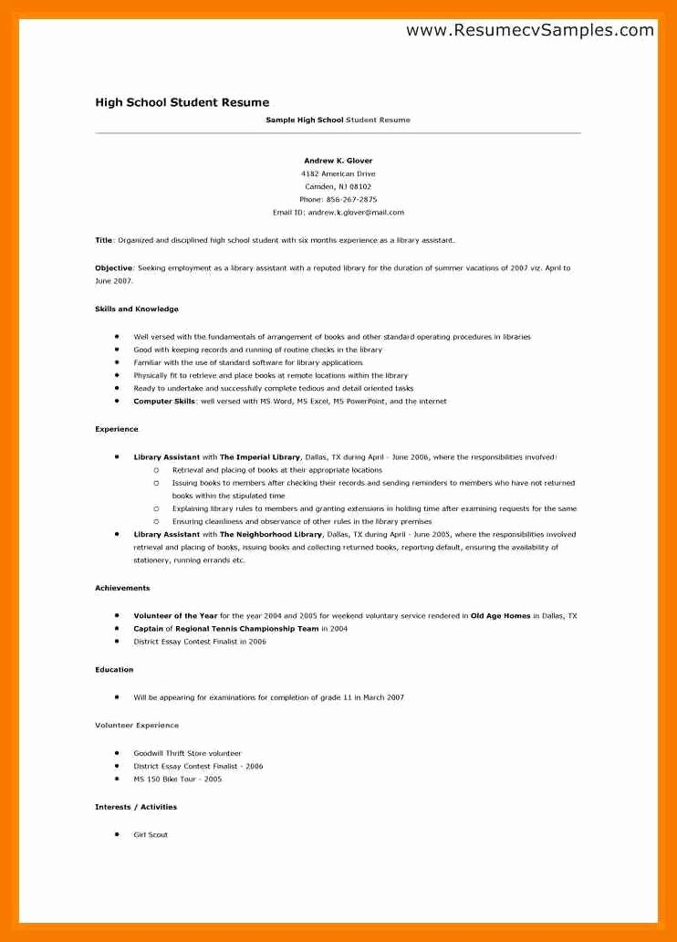 High School Resume Template Word Elegant 9 10 Sample Resume for Middle School Students