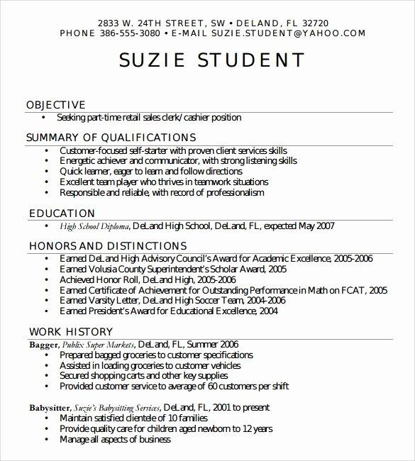 High School Resume Template Word Elegant Free 6 Sample High School Resume Templates In Pdf