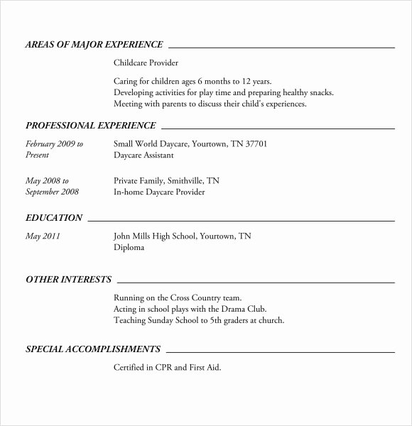 High School Resume Template Word Inspirational Free 6 Sample High School Resume Templates In Pdf
