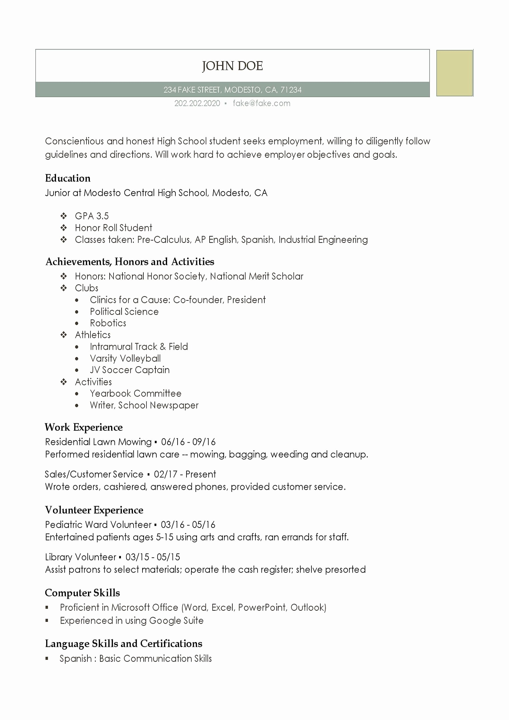 High School Resume Template Word Luxury 10 Resume for First Job Out College