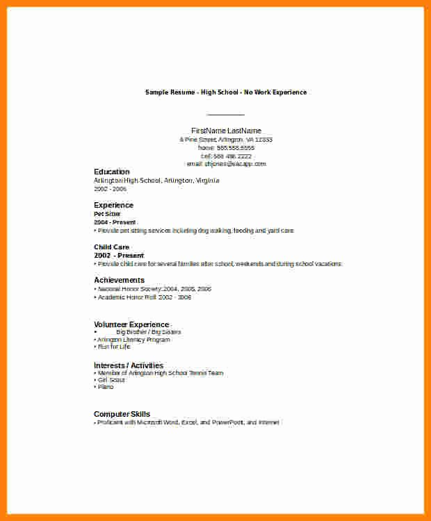 High School Resume Template Word New 6 Cv Samples for Students with No Experience Pdf