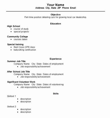 High School Resume Template Word New High School Student Resume Template Australia Resume Template