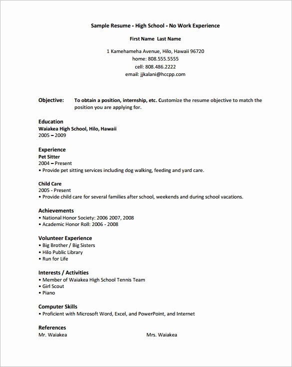 High School Resume Template Word Unique High School Resume Template 9 Free Word Excel Pdf