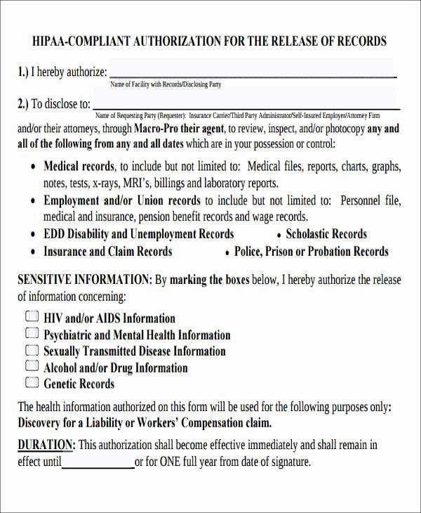 Hipaa Release form Template Best Of Sample Hipaa Pliant Release form 8 Examples In Word Pdf