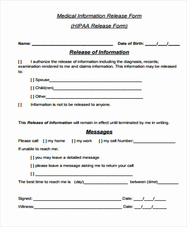 Hipaa Release form Template Elegant General Release form Sample 8 Examples In Word Pdf