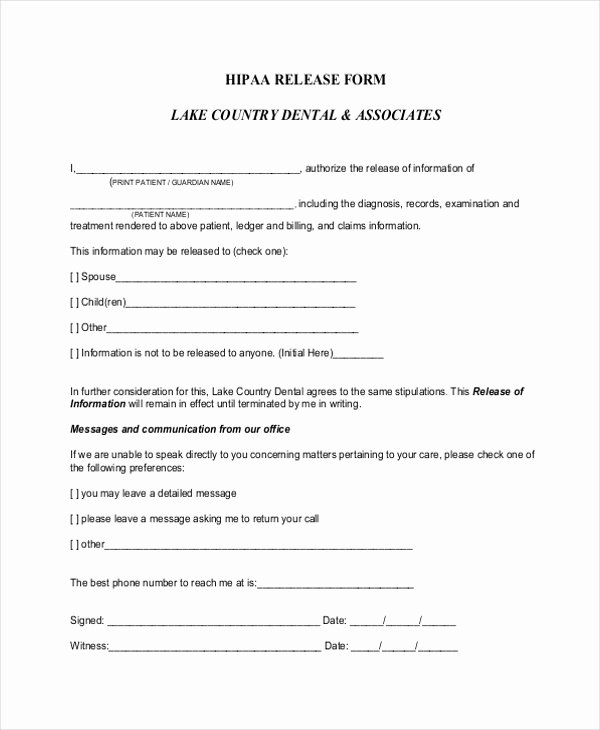Hipaa Release form Template Inspirational Hipaa Release forms – Cnbam