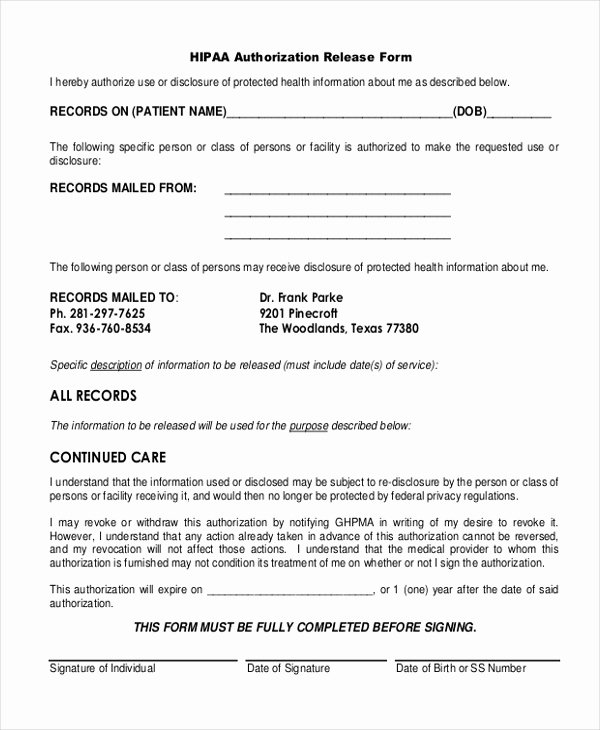 Hipaa Release form Template New Free 10 Sample Hipaa Release forms