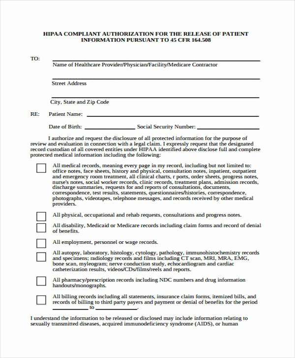 Hipaa Release form Template New Free 23 Patient Release form In Template