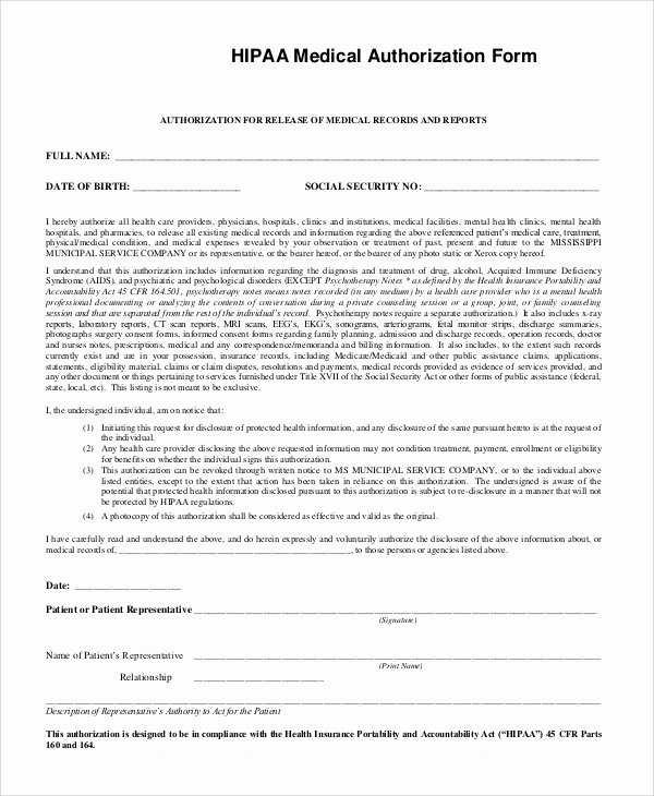 Hipaa Release form Template New Sample Hipaa form 9 Examples In Pdf Word