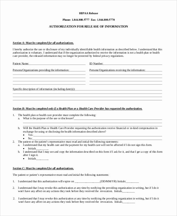 Hipaa Release form Template New Sample Hipaa Release form 8 Examples In Pdf Word