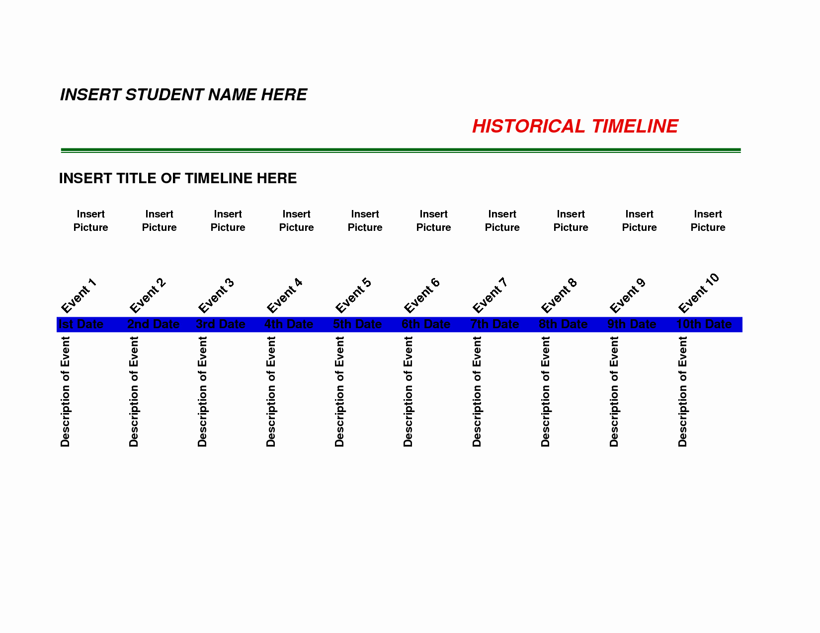 History Timeline Template Word Inspirational Best S Of Free Timeline Templates to Download Free