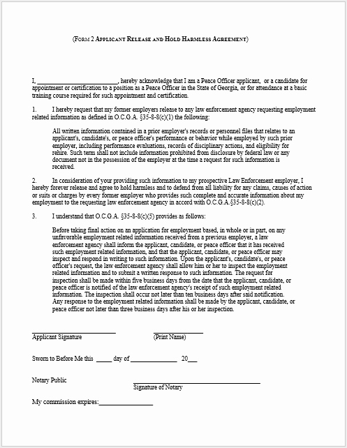 Hold Harmless Agreement Template Free Awesome 43 Free Hold Harmless Agreement Templates Ms Word and Pdfs