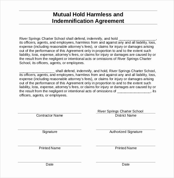 Hold Harmless Agreement Template Free Awesome Free 32 Sample Hold Harmless Agreement Templates In