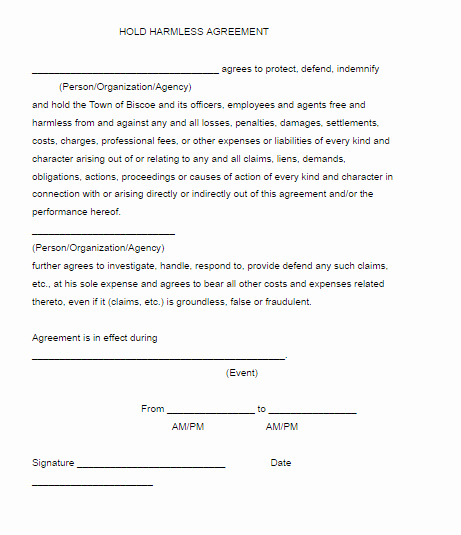 Hold Harmless Agreement Template Free Awesome Hold Harmless Agreement Template
