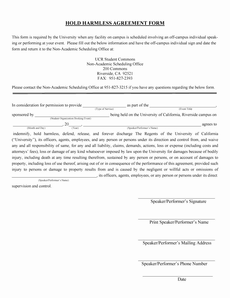 Hold Harmless Agreement Template Free Beautiful 40 Hold Harmless Agreement Templates Free Template Lab