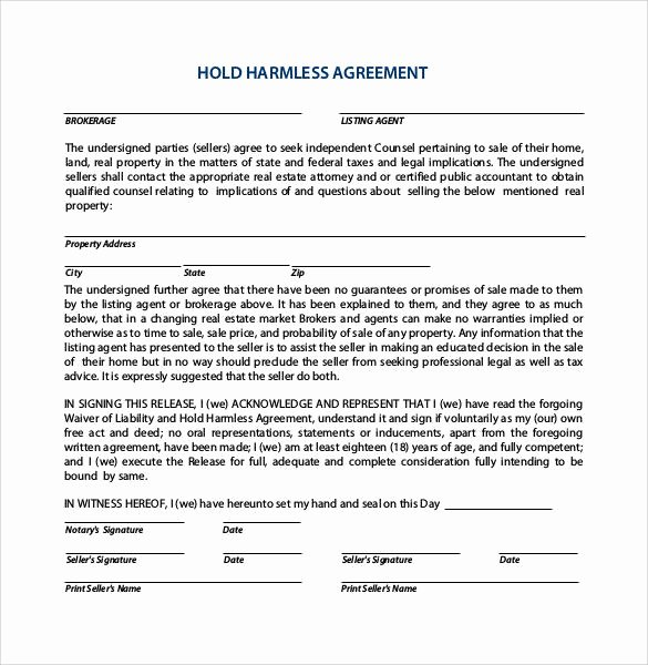 Hold Harmless Agreement Template Free Beautiful Free 32 Sample Hold Harmless Agreement Templates In